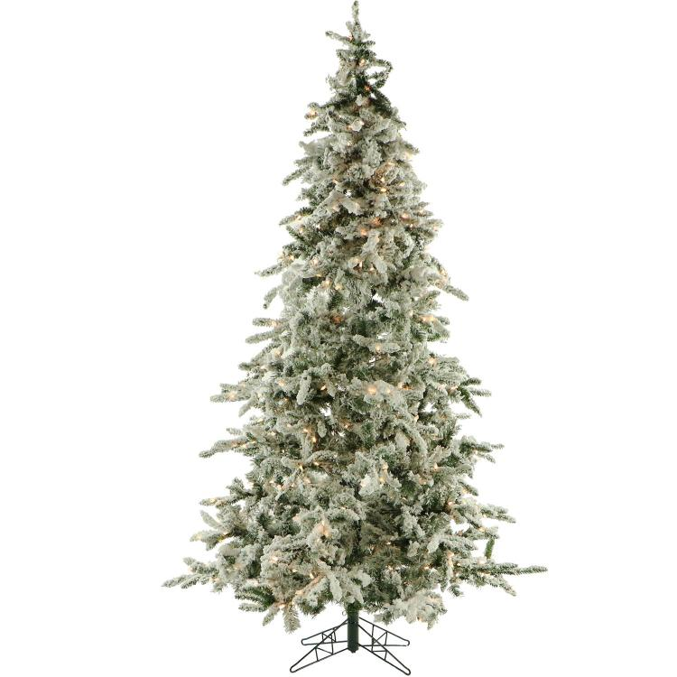 Fraser Hill Flocked Mountain Pine Christmas Tree with Clear LED String Lighting [Item # FRASERFFMP090-5SN]