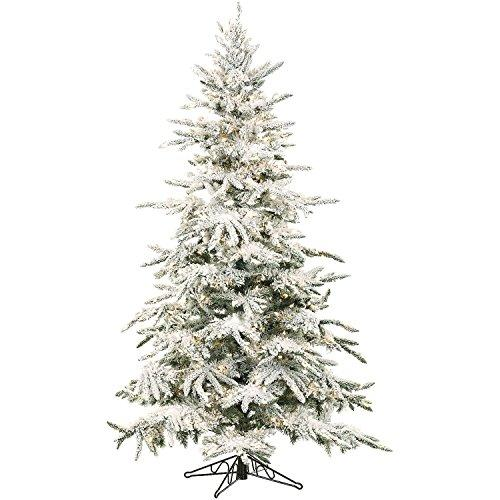Flocked Mountain Pine Christmas Tree with Multi-Color LED String Lighting