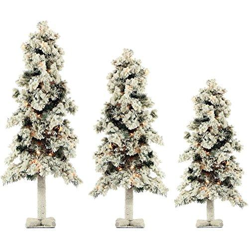 Set of 3 Snowy Alpine Trees with Clear Lights (2-Ft., 3-Ft., & 4-Ft.)
