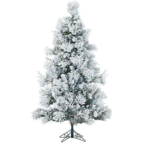 Flocked Snowy Pine Christmas Tree with Clear LED String Lighting