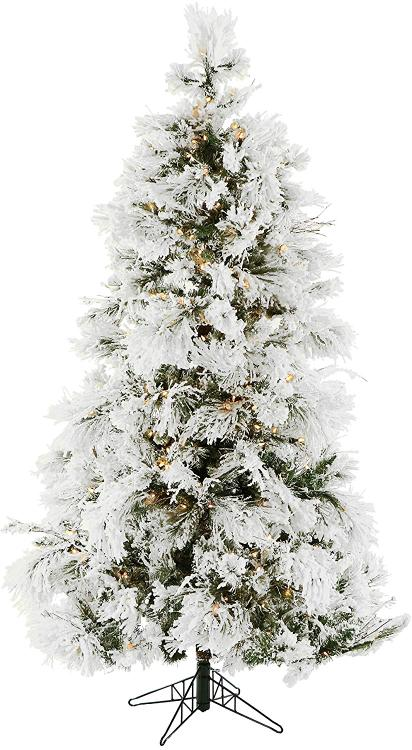 Flocked Snowy Pine Christmas Tree with Clear LED Lighting