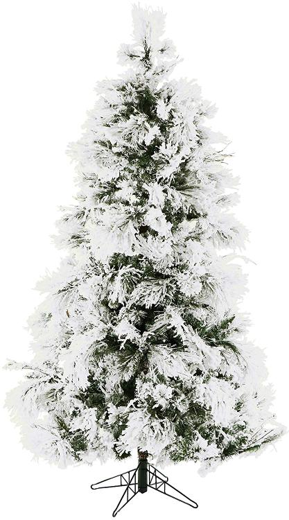 Fraser Hill Flocked Snowy Pine Christmas Tree