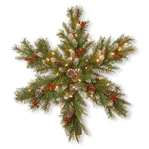 National Tree Frosted Berry Snowflake with Battery Operated Warm White LED Lights