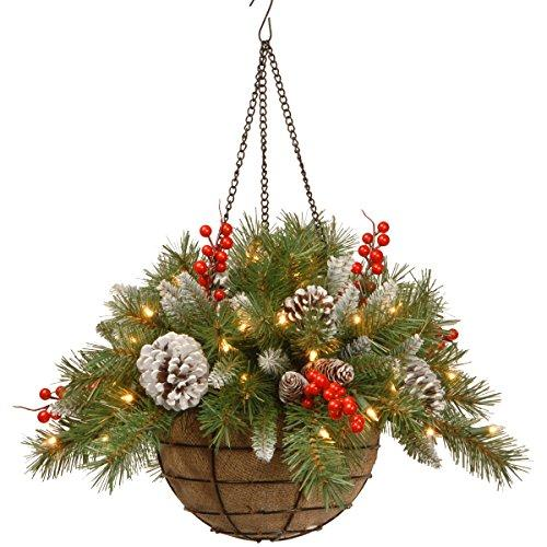 National Tree Frosted Berry Hanging Basket with Battery Operated Warm White LED Lights