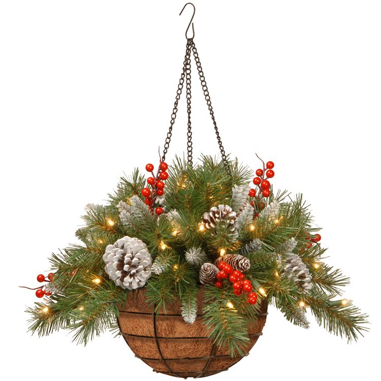 National Tree 20 inch Frosted Berry Hanging Basket with Battery Operated Warm White LED Lights