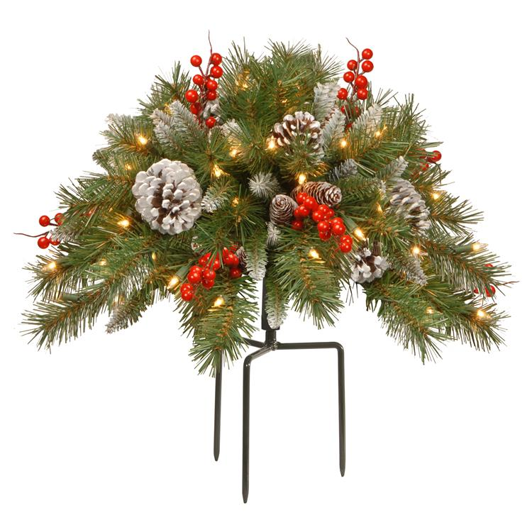 National Tree 18 inch Frosted Berry Urn Filler with Battery Operated Warm White LED Lights
