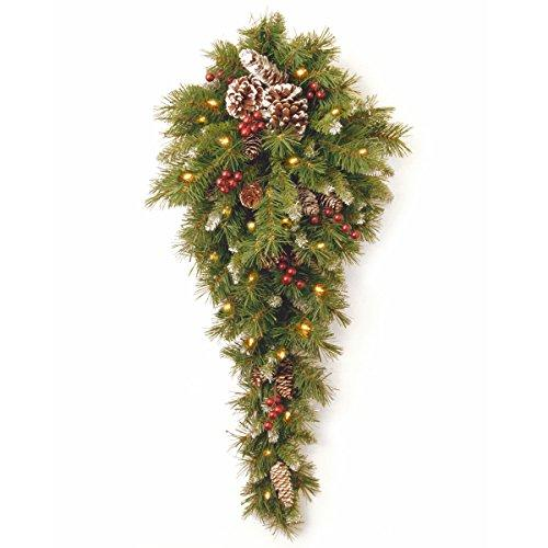 National Tree Frosted Berry Teardrop with Battery Operated Warm White LED Lights