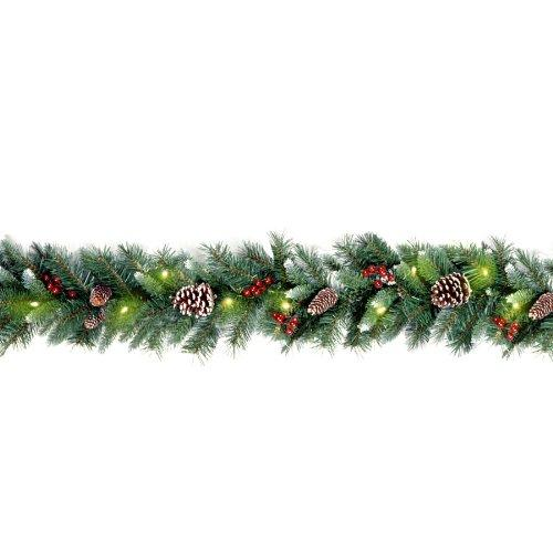 Frosted Berry Garland with Clear Lights
