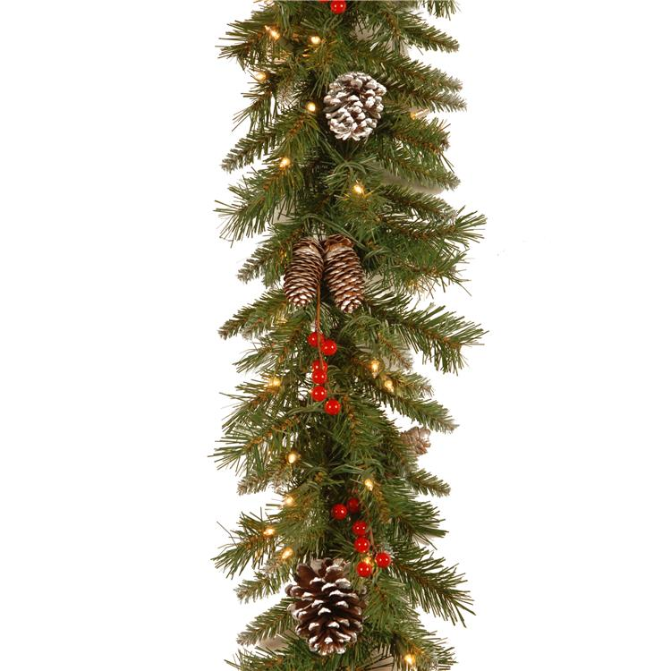 National Tree 9 ft Frosted Berry Garland with Clear Lights