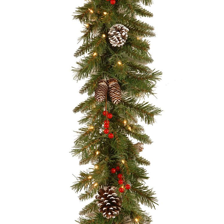 National Tree Frosted Berry Garland with Clear Lights