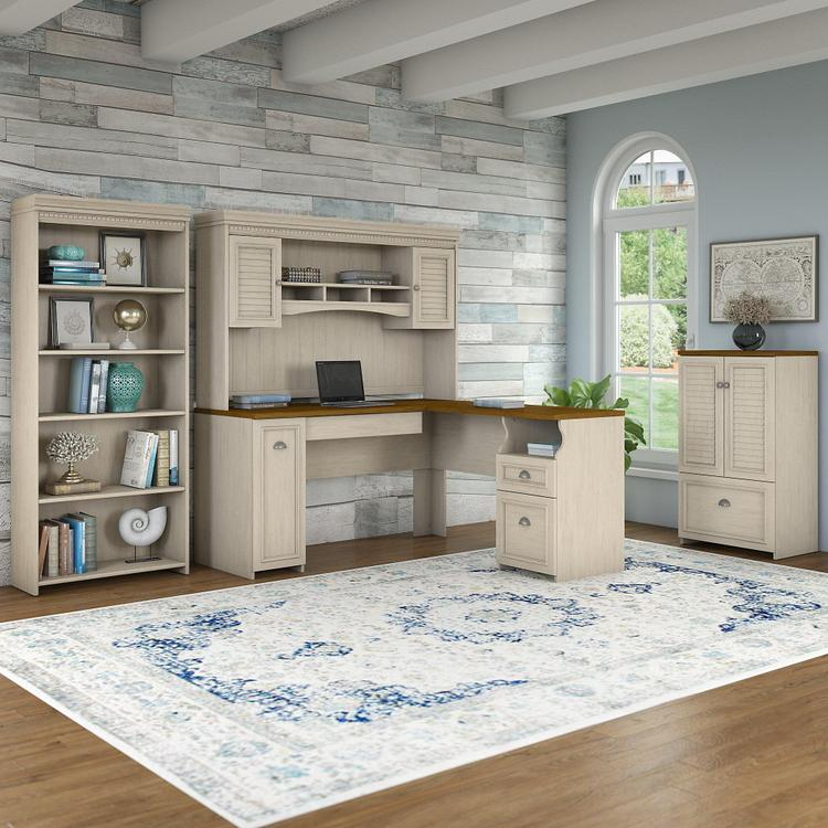 Bush Furniture Fairview 60W L Shaped Desk with Hutch, Storage Cabinet with Drawer and 5 Shelf Bookcase in Antique White and Tea Maple
