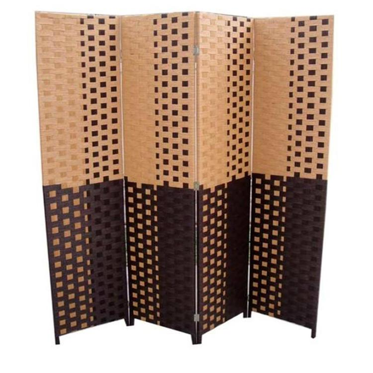 Paper Straw Weave 4 Panel Screen On 2