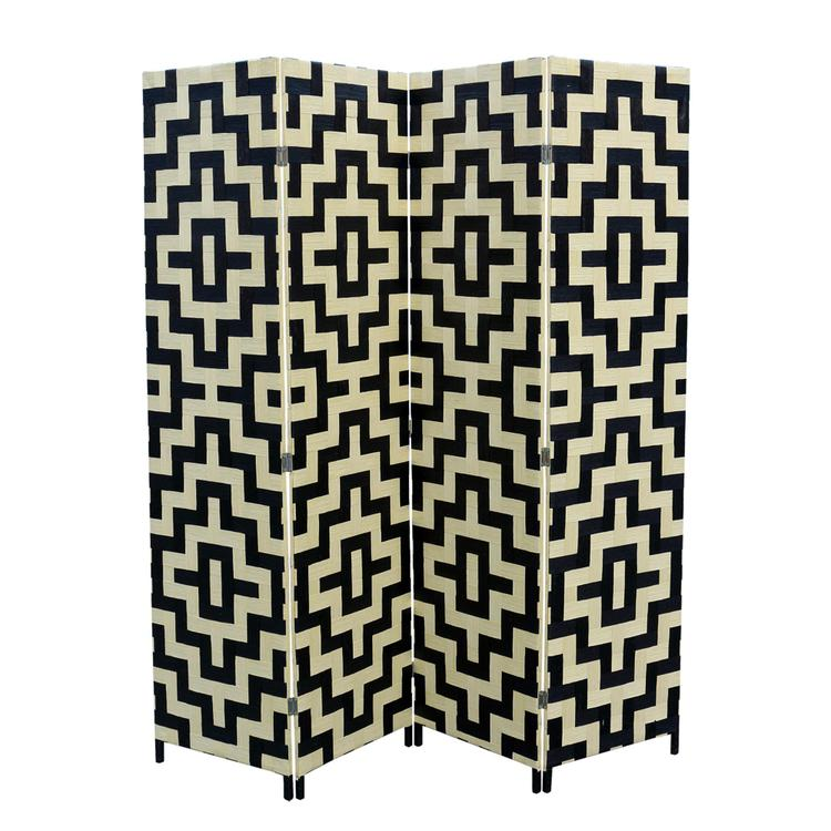 Paper Straw Weave 4 Panel Screen On Legs, Handcrafted