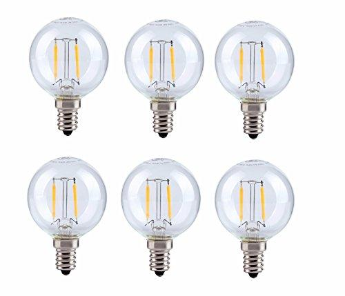 Elegant Furniture LED G14 light bulb, 2700K, 360°, CRI80, ETL, 2W, 25W EQUIVALENT, 15000HRS, LM180, NON-DIMMABLE, 2 YEARS WARRANTY, INPUT VOLTAGE 120V 6 PACK