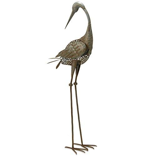 National Tree 35 Inch Garden Accents Antique Green Crane with Head Turned