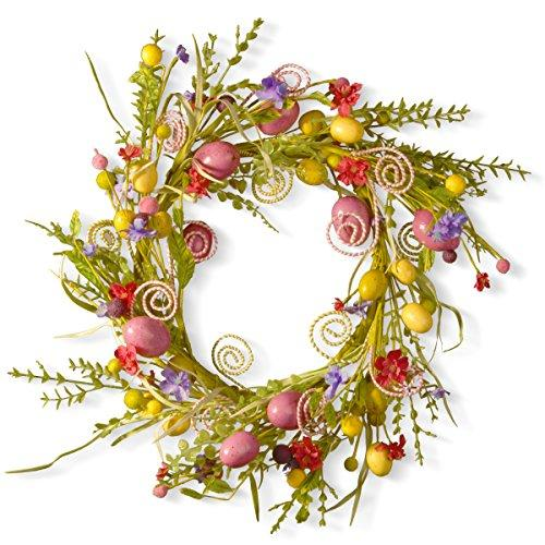 National Tree 24 Inch Easter Wreath with Mixed Flowers, Butterflies and Eggs