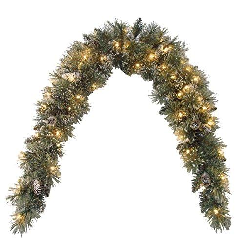 National Tree Glittery Bristle Pine Mantel Swag with Clear Lights