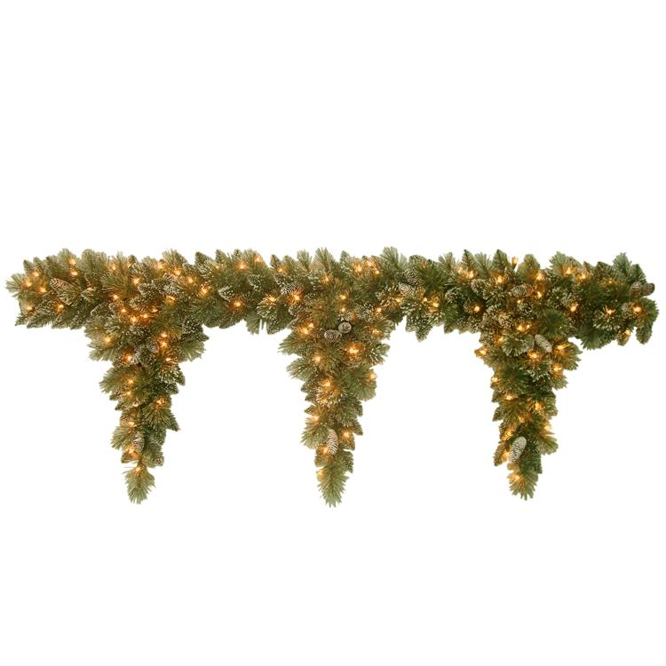 National Tree 6 ft Glittery Bristle Teardrop Garland with Clear Lights