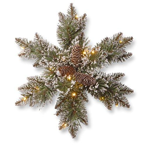 National Tree Glittery Bristle Pine Snowflake with Cones and 15 Warm White Battery Operated LED Lights with Timer