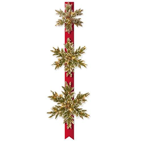 National Tree Pre-Lit Glittery Bristle Pine Triple Snowflake Door Hang