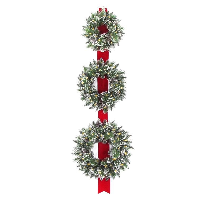 National Tree Glittery Bristle Triple Wreath Door Hang with Battery Operated Warm White LED Lights