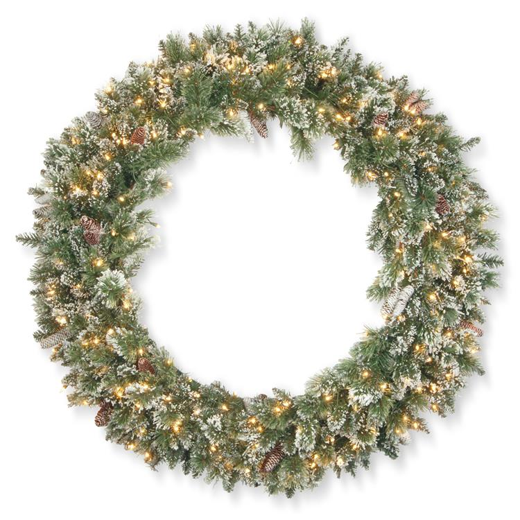 National Tree 48 inch Glittery Bristle Pine Wreath with Clear Lights [Item # GB1-332-48W]