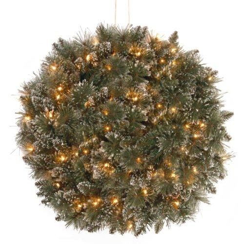 National Tree Glittery Bristle Pine Kissing Ball with Battery Operated Warm White LED Lights