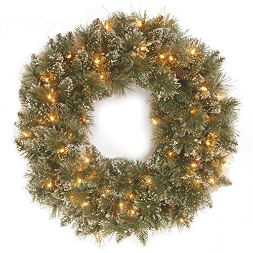 National Tree Glittery Bristle Pine Wreath with Battery Operated Warm White LED Lights