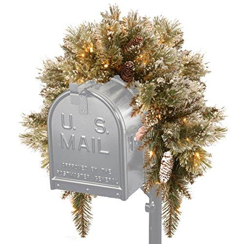 National Tree Glittery Bristle Pine Mailbox Swag with Battery Operated Warm White LED Lights