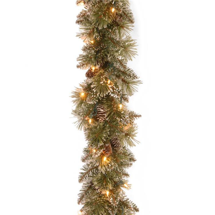 National Tree 9 ft Glittery Bristle Pine Garland with Clear Lights [Item # GB3-300-9A-1]