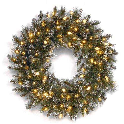 National Tree Glittery Bristle Pine Wreath with Warm White LED Lights