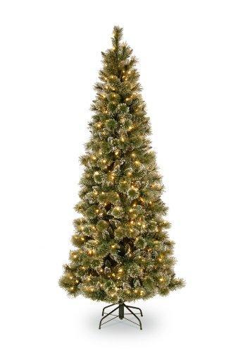 National Tree Glittery Bristle Pine Slim Tree with Warm White LED Lights