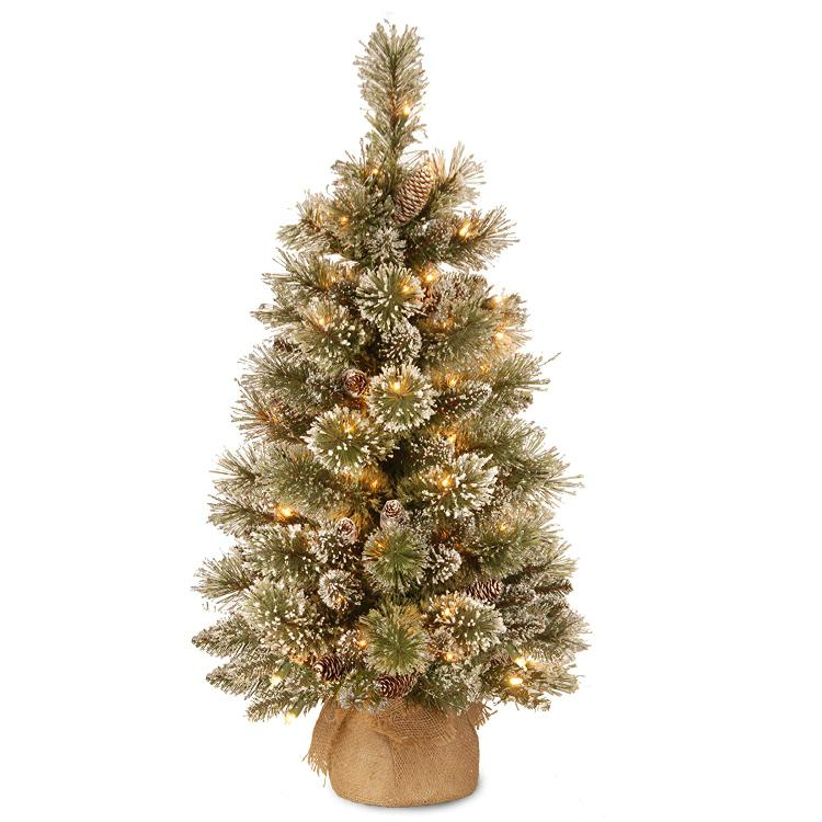 National Tree Glittery Bristle Pine Tree with Battery Operated Warm White LED Lights [Item # GB3-392-30-B1]