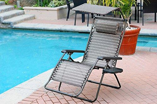 Jeco Oversized Zero Gravity Chair with Sunshade and Drink Tray - Black and Tan