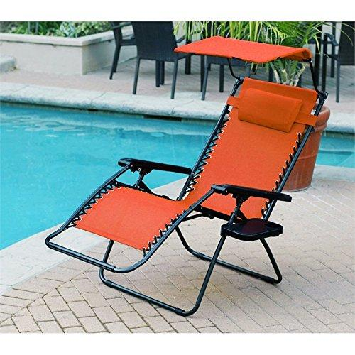 Jeco Oversized Zero Gravity Chair with Sunshade and Drink Tray - Orange