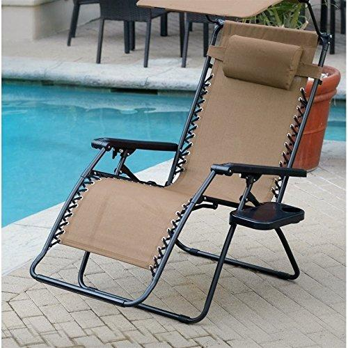 Jeco Oversized Zero Gravity Chair with Sunshade and Drink Tray - Tan