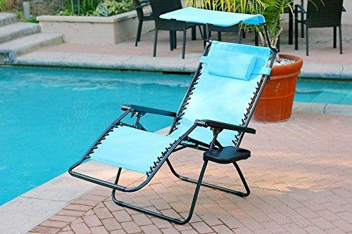 Jeco Oversized Zero Gravity Chair with Sunshade and Drink Tray - Pacific Blue