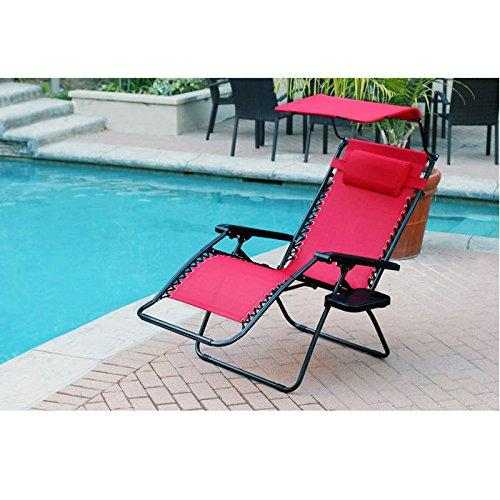 Jeco Oversized Zero Gravity Chair with Sunshade and Drink Tray - Red