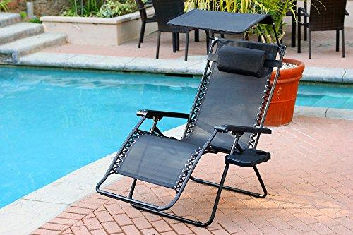 Jeco Oversized Zero Gravity Chair with Sunshade and Drink Tray - Black