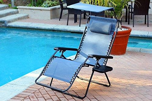 Jeco Oversized Zero Gravity Chair with Sunshade and Drink Tray - Blue