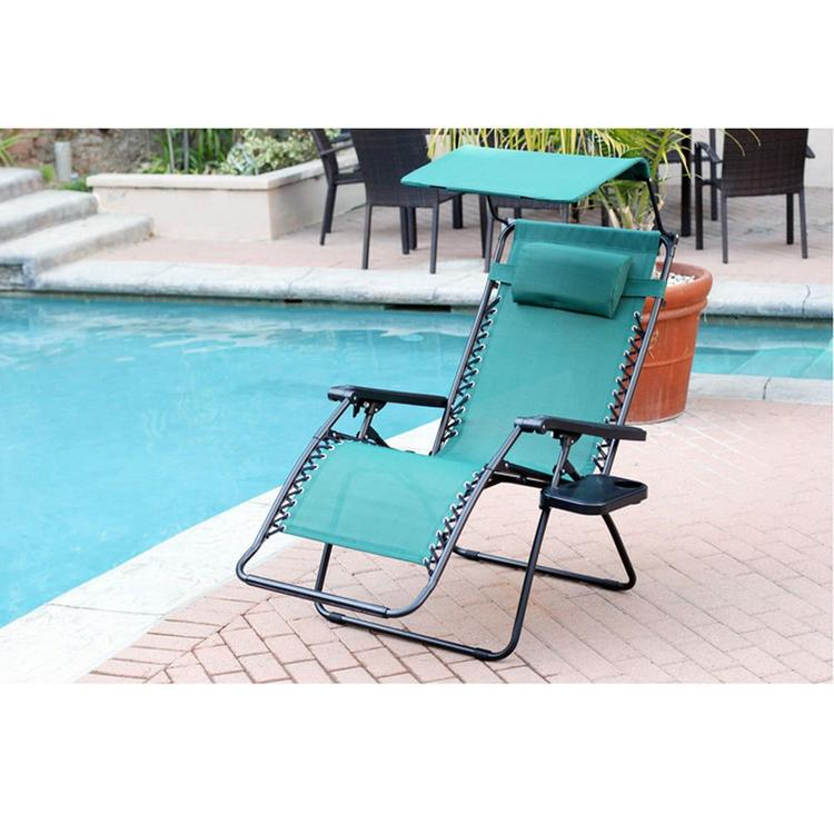Jeco Oversized Zero Gravity Chair with Sunshade and Drink Tray - Green - [GC7]