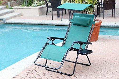 Jeco Oversized Zero Gravity Chair with Sunshade and Drink Tray - Crimson Red