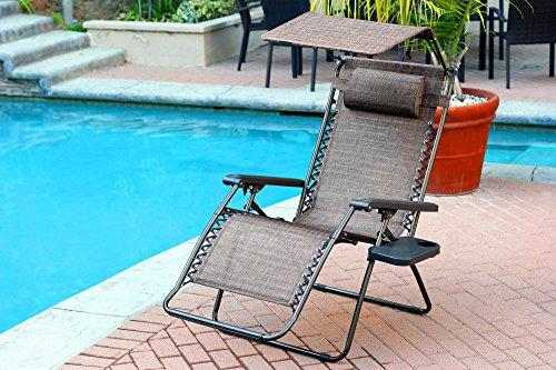 Jeco Oversized Zero Gravity Chair with Sunshade and Drink Tray - Brown Mesh