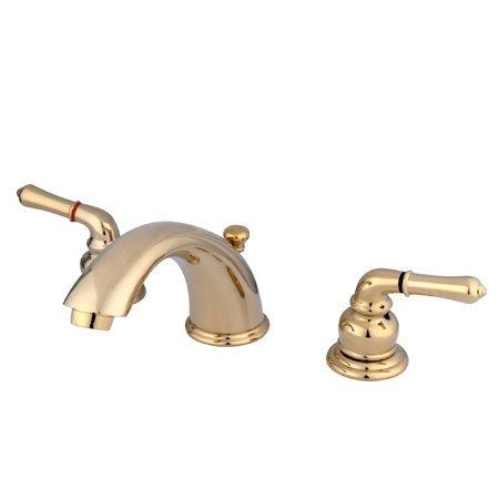 Kingston Brass GKB962 Water Saving Magellan Widespread Lavatory Faucet, Polished Brass
