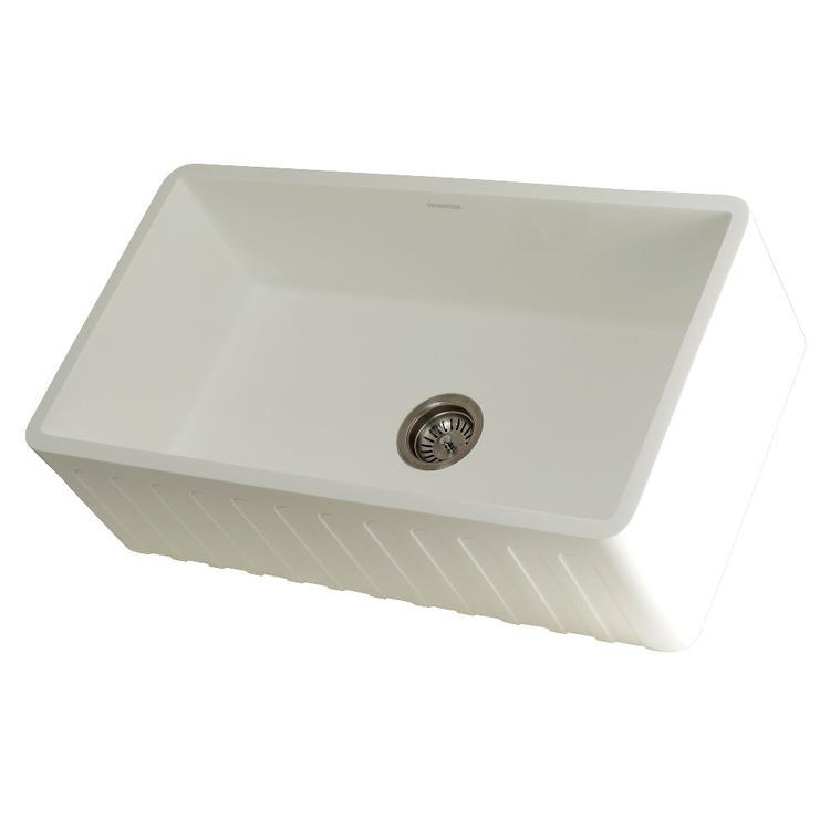 Gourmetier GKFA331810CD Solid Surface Matte Stone Apron Front Farmhouse Single Bowl Kitchen Sink, Matte White