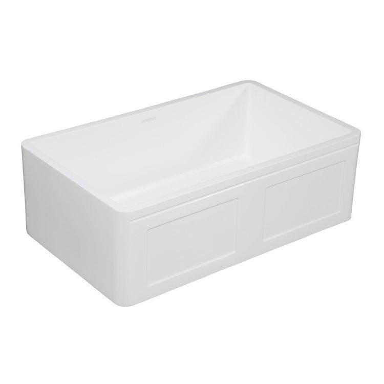 Gourmetier GKFA331810DS Solid Surface Matte Stone Apron Front Farmhouse Single Bowl Kitchen Sink, Matte White [Item # GKFA331810DS]