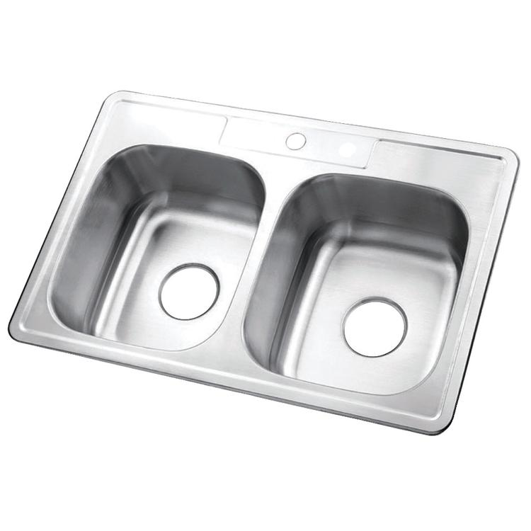 Gourmetier GKTD332291 33x22 x9 Inches Self-Rimming Double Bowl Stainless Steel Kitchen Sink, Brushed