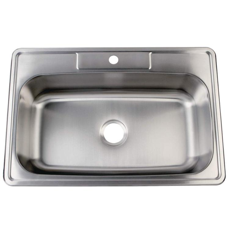 Gourmetier GKTS3322901 33x22 x9 Inches Self-Rimming Single Bowl 18-Gauge Kitchen Sink (1 Hole), Brushed