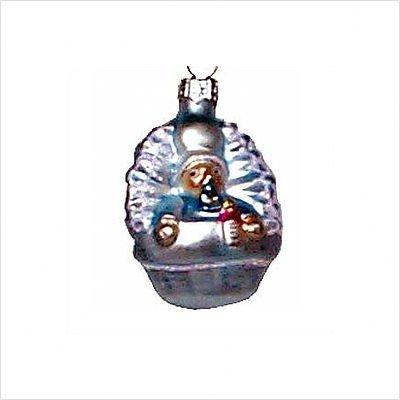 Polish Glass Hand-Blown Ornament - Blue Baby - 2.75