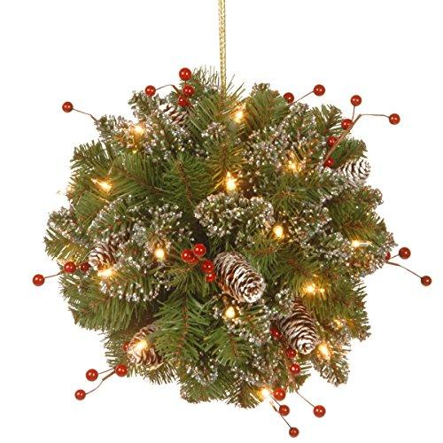 National Tree Glittery Mountain Spruce Kissing Ball with Battery Operated Warm White LED Lights